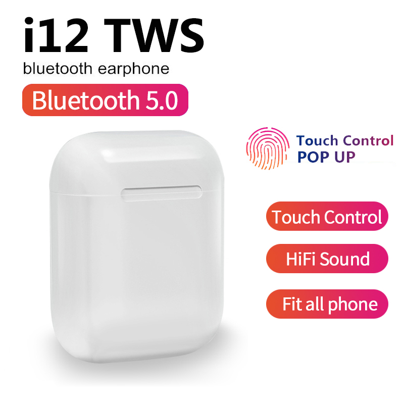 New i12 <font><b>TWS</b></font> Wireless <font><b>Bluetooth</b></font> <font><b>5.0</b></font> Earphone Sports Sweatproof Headphone Touch Portable Earbuds with Mic PK i10 <font><b>tws</b></font> i30 i60 i80 image
