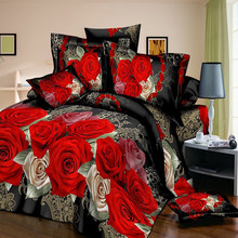 Juneiour 3/4PCS Rose Print Bedding Set Luxury Flower Pillowcase Bed Linen For Duvet Cover Bedclothes Room Decoration Home(China)