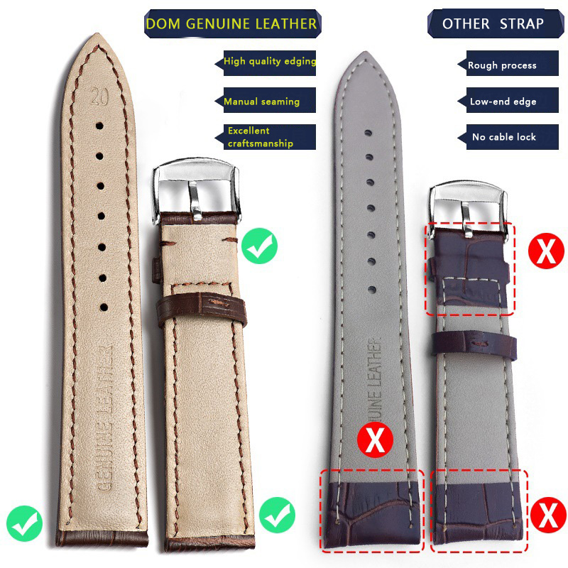 Image 5 - Genuine Leather Watch Band Strap Stainless Steel Butterfly Clasp 13mm 14mm 15mm 16mm 17mm 18mm 19mm 20m 21mm 22mm Watchband GiftWatchbands   -