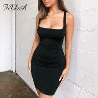 FSDA с квадратным вырезом без рукавов облегающее мини платье Базовая женская летняя обувь черного цвета с низким вырезом на спине вечерние пикантные желтые Клубная одежда 2020 платья 3