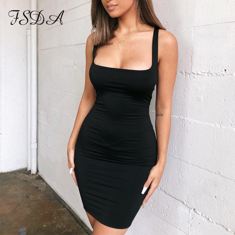 FSDA Square Neck Sleeveless Bodycon Mini Dress Basic Women Summer Black Backless Party Sexy Yellow Clubwear 2020 Dresses 1