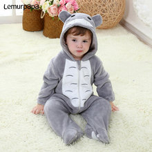 Baby Onesie Kigurumis Boy Girl Infant Romper Totoro Costume Gray Pajama With Zipper Winter Clothes Toddler Cute Outfit Cat Fancy