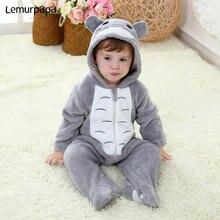 Baby Onesie Kigurumis Junge Mädchen Säuglingsspielanzug Totoro Kostüm Grau Pyjama Mit Zipper Winter Kleidung Kleinkind Nettes Outfit Katze Phantasie