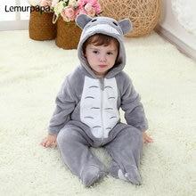 תינוק סרבל תינוקות Kigurumis ילד ילדה תינוק Romper Totoro תלבושות אפור פיג מה עם רוכסן חורף בגדים פעוט חמוד תלבושת חתול מפואר