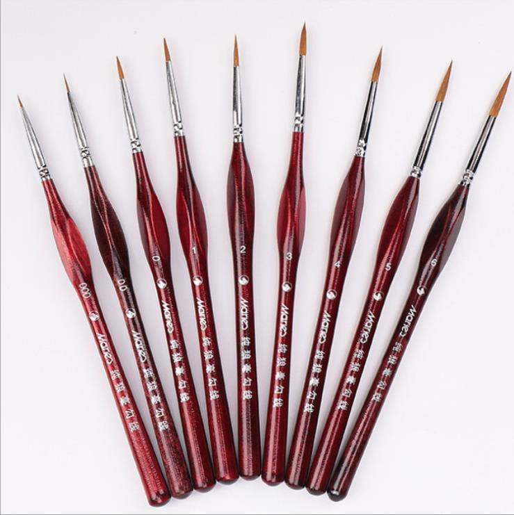 Leidea 9Pcs Ink Brush Professional Fine Hand-painted Pen Round Tip Watercolor Drawing Painting Brush Pen Art Supplies Gift Set