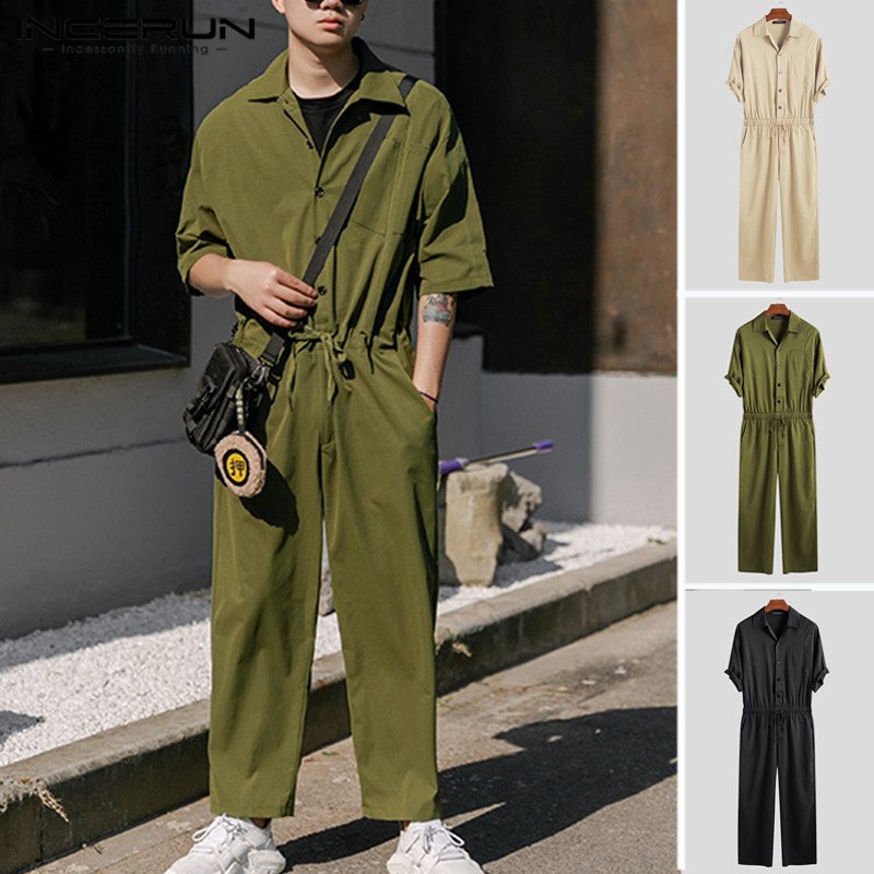 INCERUN Fashion Men Cargo Overalls Half Sleeve Jumpsuits Solid Joggers Chic Button Rompers Street Style Casual Men Pants 2020