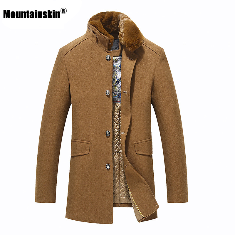 Mountainskin 2020 Winter Men's Wool Jacket Stand Collar Thick Mens Wool Jacket Casual Windproof Cold Protection Coat Male SA953