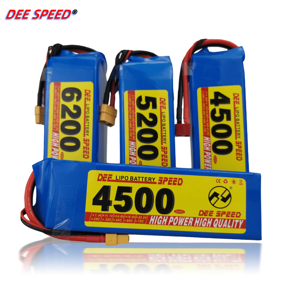 RC <font><b>LiPo</b></font> battery 2S 3S 4S <font><b>6S</b></font> 11.1V 22.2V 2200mah <font><b>5200mah</b></font> 3500mah 6200ma XT60-T plug for UAV helicopter remote control car battery image