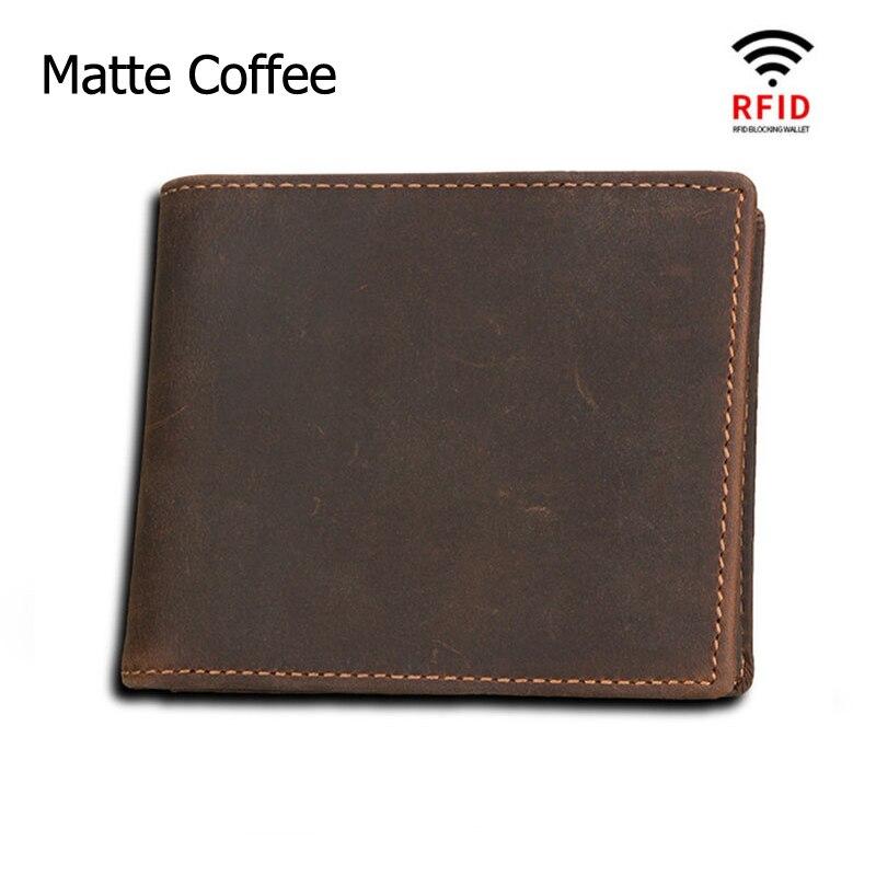 Мужские кошельки с блокировкой RFID, винтажный кошелек из натуральной коровьей кожи, мужской кошелек ручной работы на заказ, кошелек для монет по цене доллара, короткий кошелек carteira - Цвет: Matte Coffee