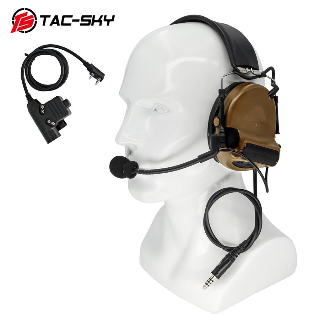 Купить с кэшбэком TAC-SKY COMTAC II silicone earmuffs hearing noise reduction pickup military tactical headset CB+ U94 Kenwood plug PTT