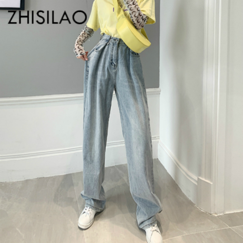 High Waist Straight Jeans Women Plus Size Boyfriends Mom Jeans Mujer Loose Vintage Wide Leg Denim Jeans Pants Ladies