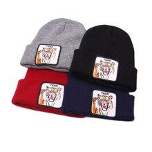 Новая Кепка унисекс с животным принтом повседневные шапочки для мужчин и женщин хип-хоп вязаная зимняя шапка мужская вязаная крючком Лыжная шапочка шапка женская шапка# A