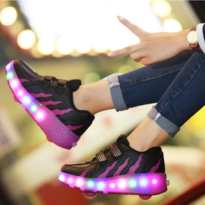 Image 4 - Kids Glowing Sneakers with Wheels Led Lights Up Shoes Women Roller LED lighting Shoes Child Sports Boy Luminous Sneaker EU 27 41