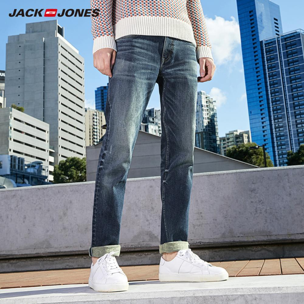 JackJones Men's Basic Cotton Casual Denim Pants Men's Slim Elastic Jeans 219332573