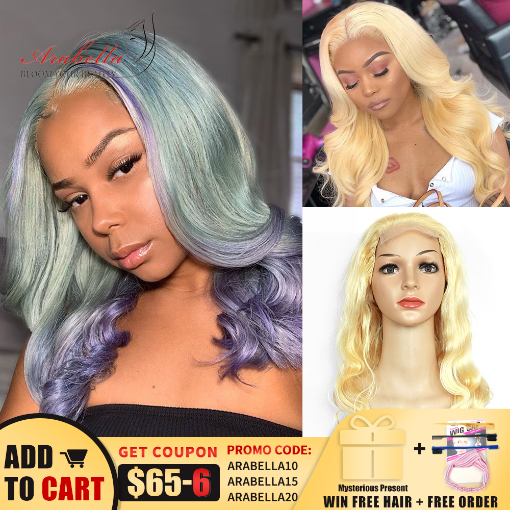 Blonde Wig Body Wave 4*4 Lace Closure Wig With Baby Hair Arabella Remy 100% Human Hair Wigs High Ratio Brazilian 613 Closure Wig