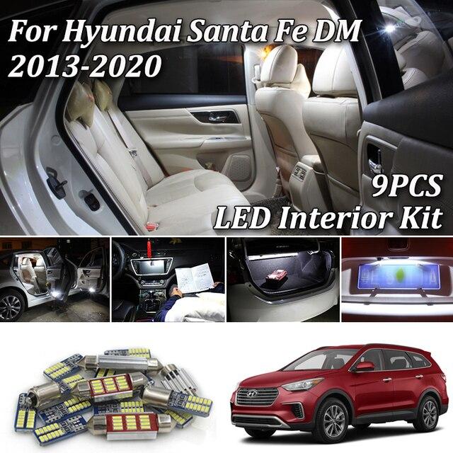 9X blanc Canbus led voiture intérieur lumières paquet Kit pour Hyundai Santa Fe DM ix45 2013 2014 2015 2016 2017 2018 2019 2020