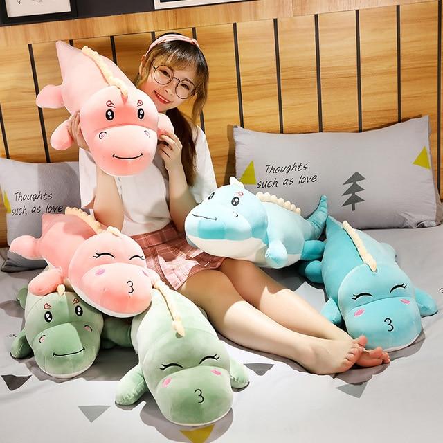 Green Dinosaur Smile Kiss Cute Dino Lying Animal Plush Toy Stuffed Soft Doll Pink Blue Girls Boys Gift 50/80/100/120cm 2