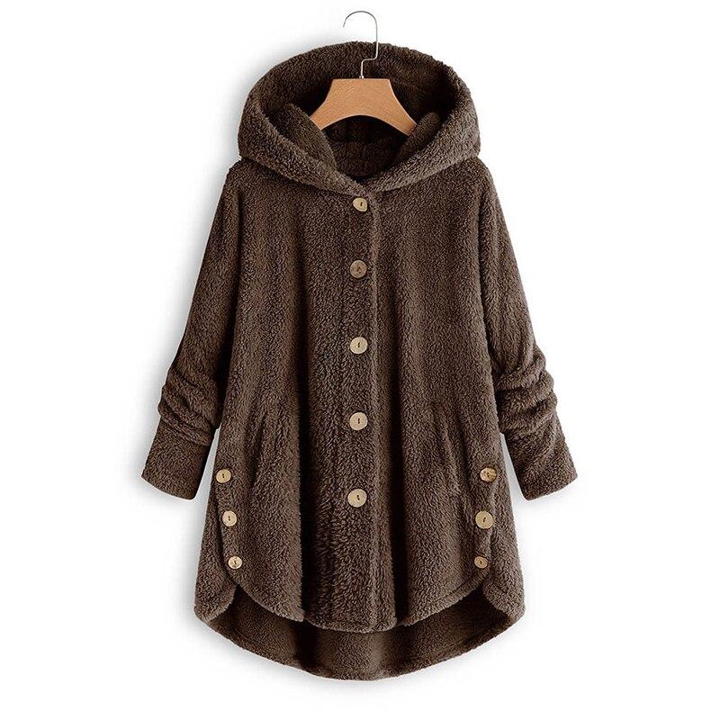 2019 chaquetas de invierno nueva moda mujer Botón de felpa camisa chaqueta de Color Irregular abrigo de piel femenina talla grande 5Xl Mujer parka