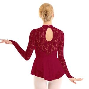 Image 5 - Women Adult Ballet Competition Lyrical Dancewear Costumes Lace Figure Ice Skating Roller Skating Dance Ballroom Leotard Dress
