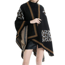 2019 Fashion Autumn Winter s Women Blanket Flowers Splicing Pattern Coat Wrap Cozy Leopard Shawl Poncho Scarf