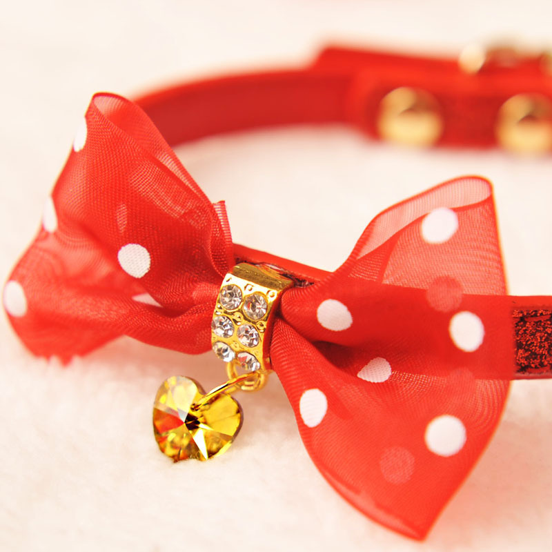 Amigo Polka Dot Bow Neck Ring Pet Cat Dog Neck Circle Czech Water Diamond Small Dogs