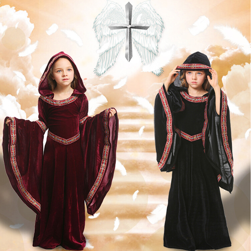 Fashion Halloween Cosplay Costumes Scary Vampire Witch Costume Medieval Costume Black Fancy Maxi Dress Red Black For 100 150cm in Dresses from Mother Kids