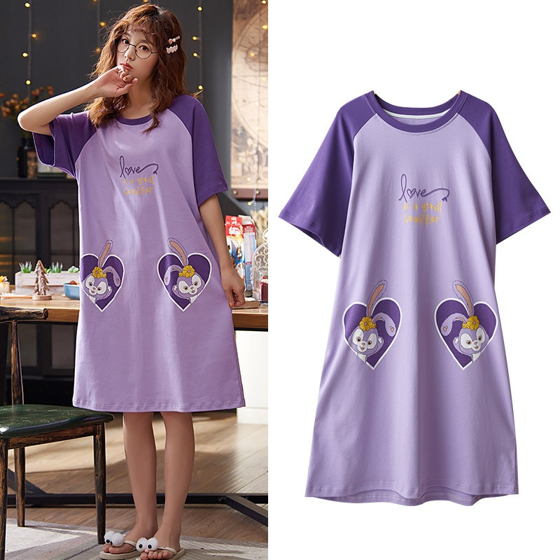 New Cartoon Nightgowns For Women Sleepwear Cotton Nightdress Night Dress Summer Girls Sleepwear Home Clothes Nightwear Home Wear