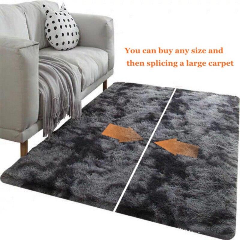 Tapis Long en peluche doux fausse fourrure lavable antidérapant décoratif tapis de sol pour salon chambre salle de jeu
