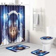цена на Waterproof Bathroom Curtain Colorful Cat Print Bath Curtains 3D Fabric Aerospace Cat Shower Curtain Toilet Cover No Slip Mat Set