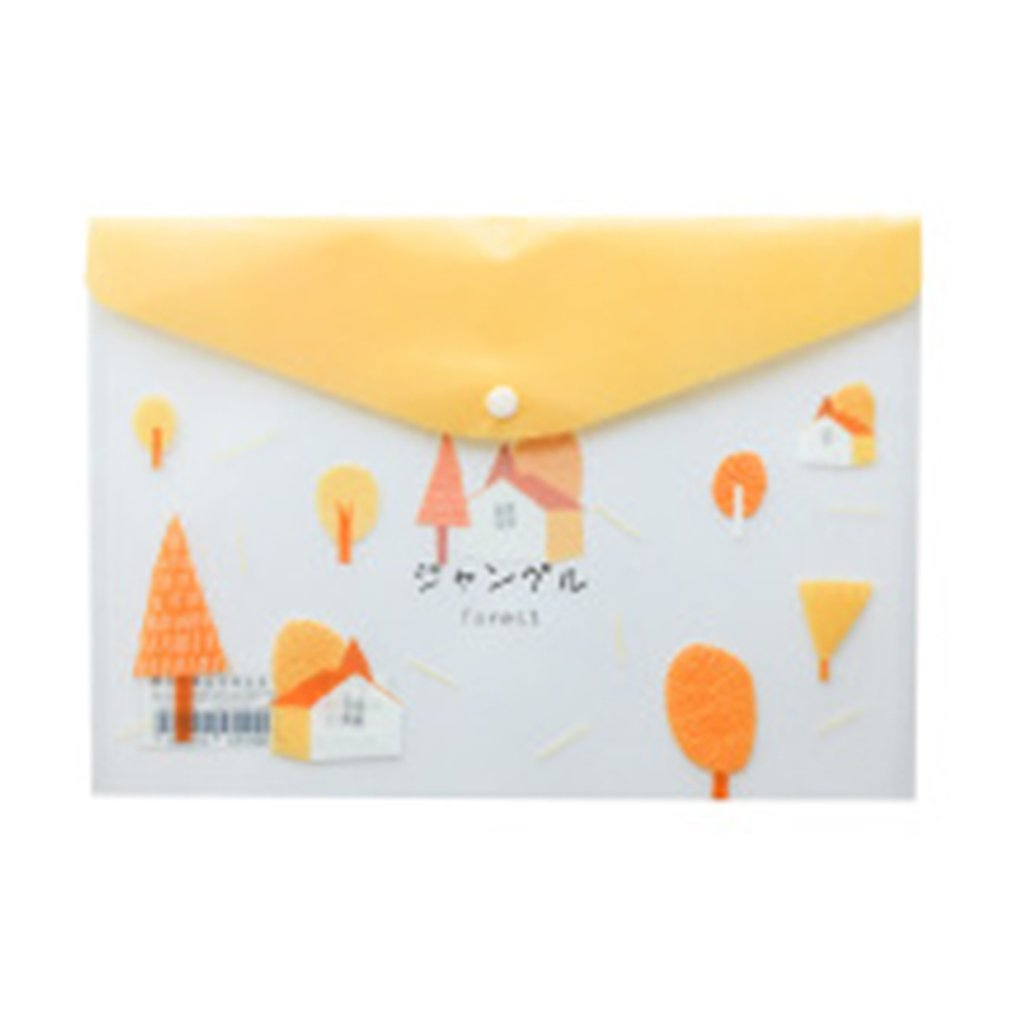 Cute Cartoon A4 Plastic File Bag Folder Student Stationery Test Bag Information Bag Forest Hut