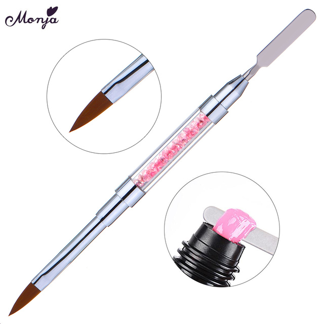 Monja Dual Head Nail Art Flower Carving Painting Brush Acrylic UV Gel Extension Drawing Pen Nail Gel Removal Spatula Stick 3
