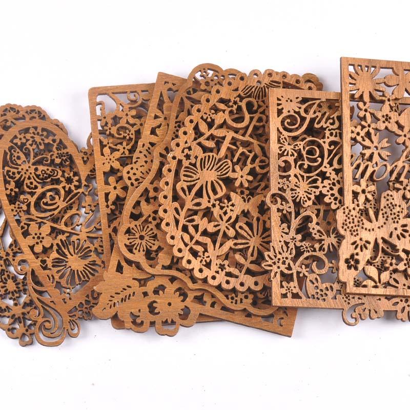 Hollow Heart/Square Wooden Crafts Scrapbooking Wood Slices Ornaments For Decor DIY Arts Home Decoration Embellishment 2Pcs M2554