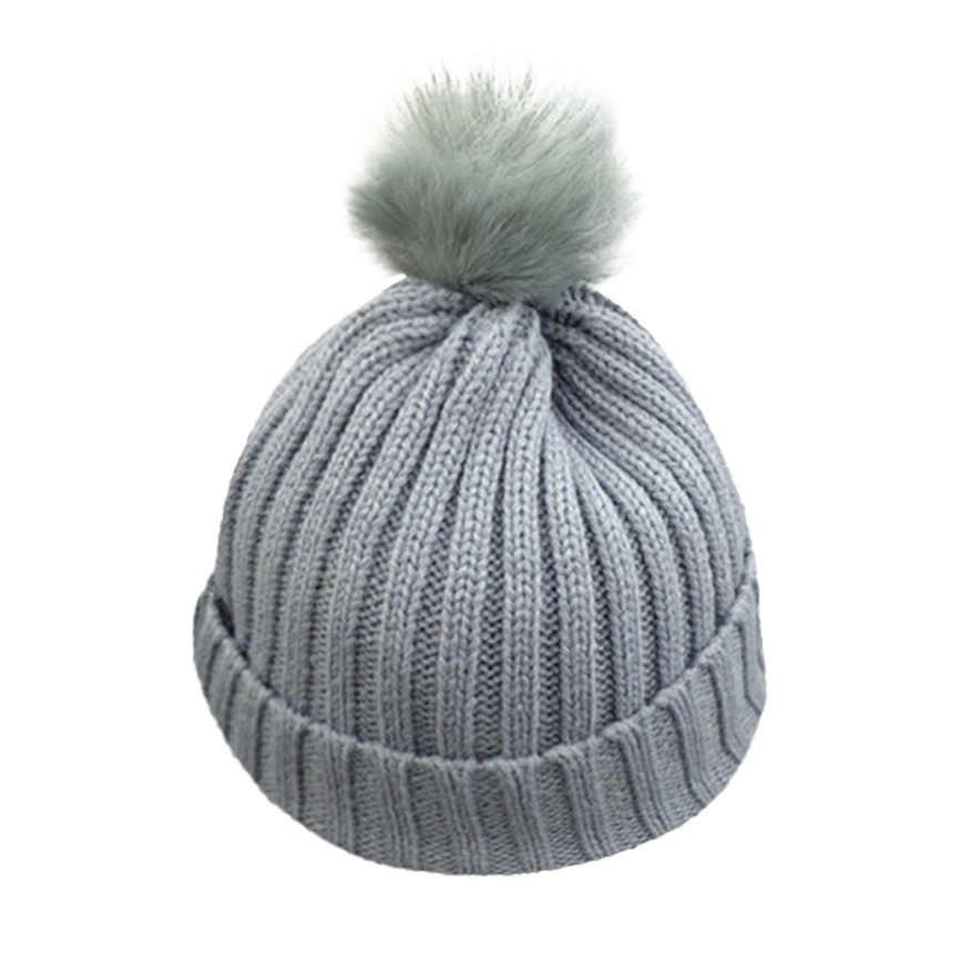 Toddler Kids Boys Girls Wooly Beanie Pom Pom Winter Bobble Knit Crochet Hat Caps