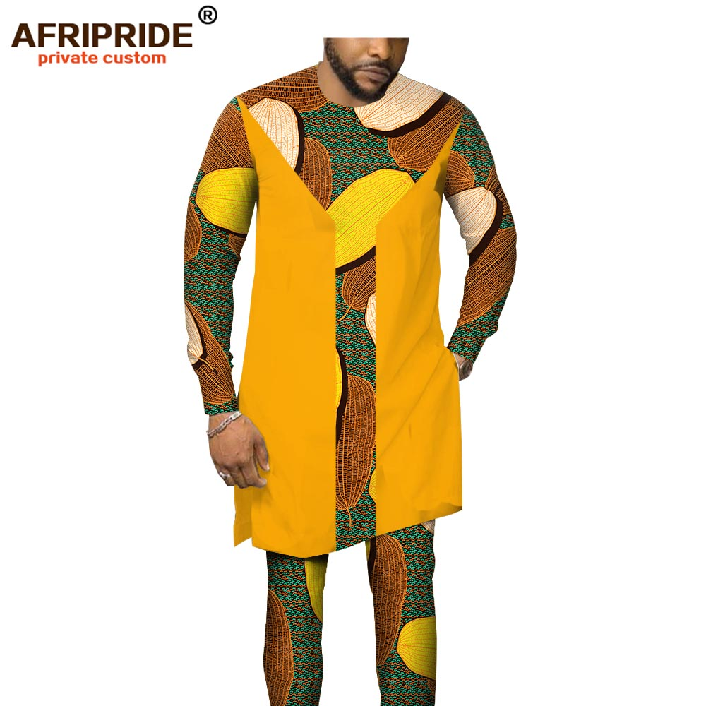 African Men Clothing Tribal Set Print Shirts+ Ankara Pants Dashiki Tracksuit Outfits Blouse Tops Pockets AFRIPRIDE A1916007B