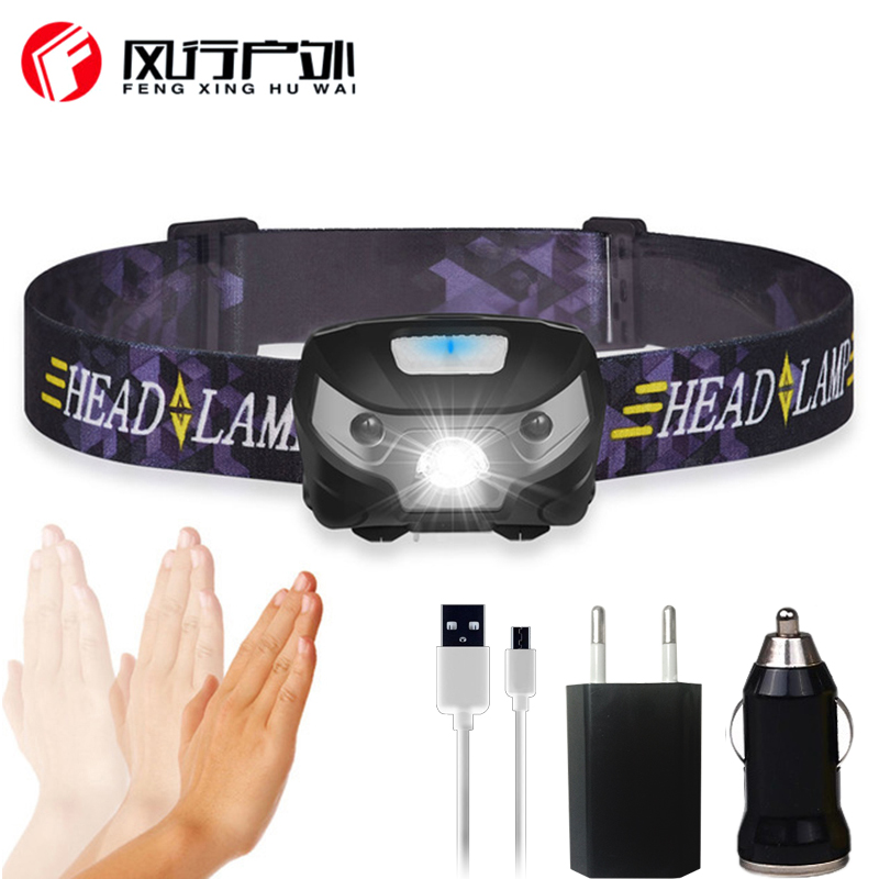 FX-DZ20 <font><b>3000lm</b></font> Mini Rechargeable LED HeadLamp Body Motion Sensor Bicycle Head Light Lamp Outdoor Camping Flashlight With USB image