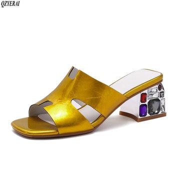Genuine leather Slippers women European brand crystal heels comfortable sandals genuine cowhide women's shoes size 34-42