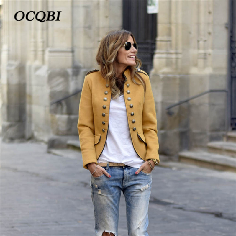 Coat Outwear Jacket Blazer Yellow Korean Casual Fashion Winter Women Plus-Size Slim-Fit