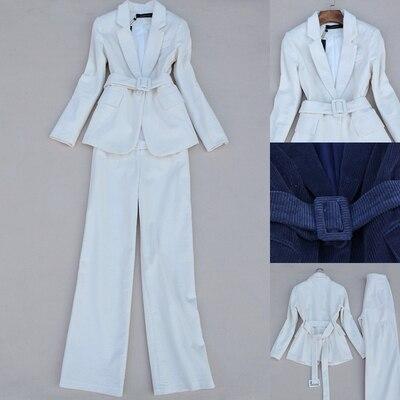 Fashion Milky Corduroy Suit Suits Women Spring New High-end Casual Business Suit+ Wide Leg Long Pants Two-piece Suits Women