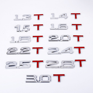 3D metal 3D 1.4 1.5 1.6 1.8 2.0 2.2 2.4 2.5 2.8 3.0 T logo car trunk logo tail decoration car displacement metal labeling