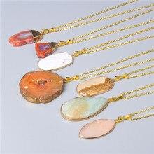 Naturale di cristallo Druzy Chakra collana di pietra del pendente Energia di guarigione dei monili per Le Donne Oro Catena amico commercio all'ingrosso della collana regali