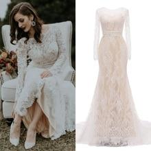 Encaje VINTAGE novia vestido de novia champán boda fiesta foto real precio de fábrica