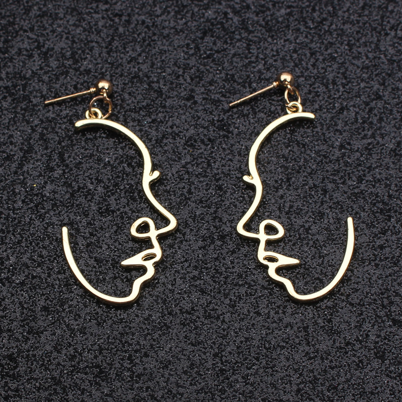 New Styles Sexy Face Drop Earrings Hiphop Statement Cold Wind Ins Metal Abstract Art Hollow Out Profile Dangle Earrings Gift