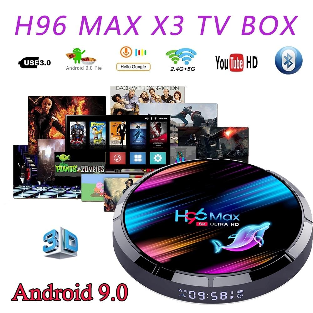 H96 MAX X3 8K Amlogic S905X3 Smart Android 9.0 TV BOX 4GB RAM 128GB 2.4G/5G Wifi 1000M BT4.0 4K Media Player H96 MAX TOP TVBOXEN