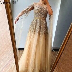 Image 5 - דובאי זהב יוקרה O צוואר סקסי ערב שמלות 2020 פאייטים קריסטל עם כובע שרוולים פורמליות שמלת Serene היל LA70454