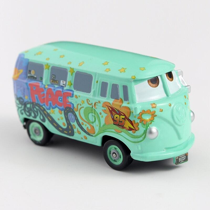 Disney Cars-Coche de juguete de Cars 3 Pixar Original Fillmore, Metal fundido a presión, Rayo McQueen 1:55, regalos de cumpleaños y Navidad para niños