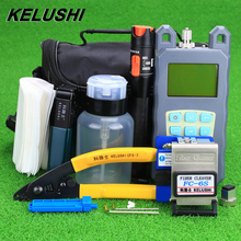 KELUSHI 19 개/대 FTTH 툴 키트, FC 6S 파이버 클리버 및 광 파워 미터 10mW 시각 장애 탐지기 광섬유 스트리퍼