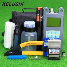 KELUSHI Kit de herramientas FTTH con cuchilla de fibra de FC 6S y medidor de Potencia Óptica, localizador Visual de fallos, 10mW, 19 unidades