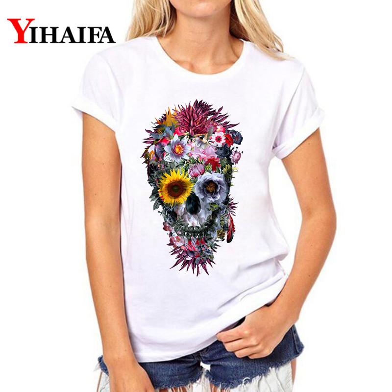 YIHAIFA New Summer Women Short Sleeve T-shirt Female Casual Flower Skull Printed Suit Gym Tops White T Shirts
