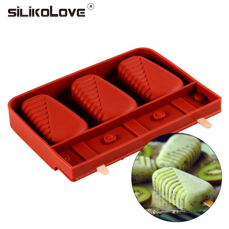SILIKOLOVE 3 Cavity Strip Ice Cream Mold Silicone Popsicle Molds With Free Wooden Pop Sticks