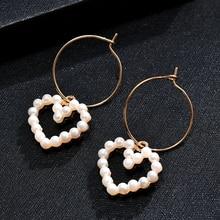 1 Pair Korean Women Circle Hoop Heart Pearl Drop Dangle Party Earrings Jewelry Gift Hot